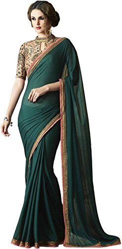 Magneitta Women's Crepe Chiffon Saree With Blouse Piece (97033_Green)