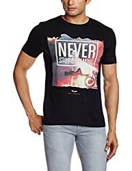 Wrangler Mens T-Shirt (8907222665050_W150476198YZ_X-Large_Black)