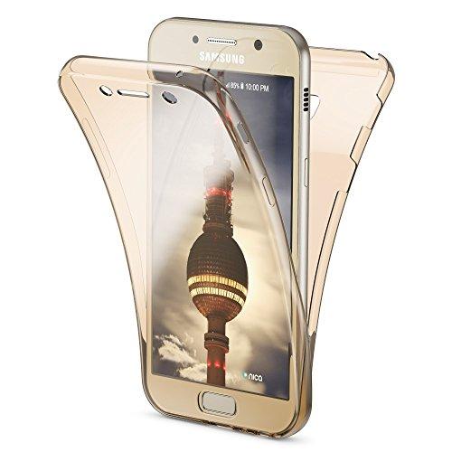 NALIA Handyhülle 360 Grad für Samsung Galaxy A3 2017, Full Cover vorne & hinten Rundum Doppel-Schutz-Hülle, Dünnes Ganzkörper Case Silikon, Transparenter DisplaySchutz-Hülle & Rückseite, Farbe:Gold