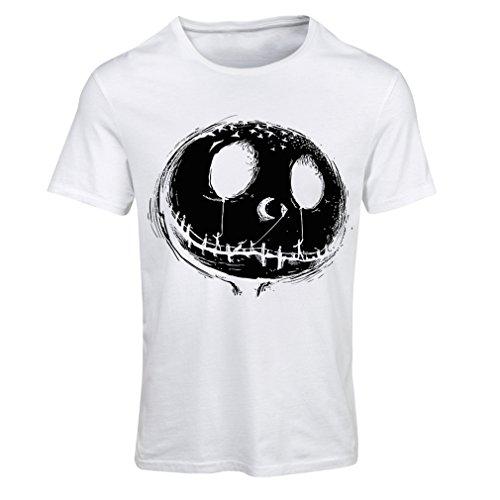 Frauen T-Shirt beängstigend Schädel Gesicht - Alptraum - Halloween-Party-Kleidung (Large Weiß Mehrfarben)