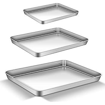 Teamfar backblech tabelle set 2 edelstahl tablett backen pfanne profi nicht giftig und gesund - Kuchenspiegel edelstahl ...