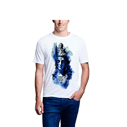 Lime White Colour Printed Poly Cotton T-Shirt for Men
