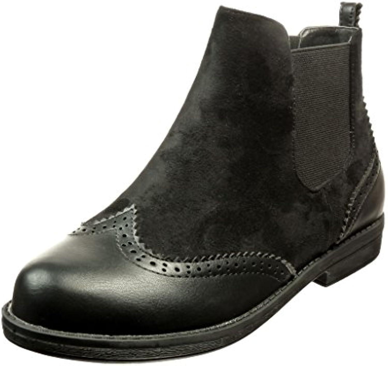 Angkorly - damen Schuhe Stiefeletten - Chelsea Boots - bi-Material - Fertig Steppnähte Blockabsatz 2 CM