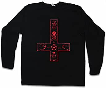 RED PENTAGRAM SIGN DAMEN LANGARM T-SHIRT Satanic Circle 666 Satan of the