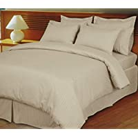 IBed HomeUltra Soft Cotton Striped King Size Bed Sheet by IBED Home - 3 Piece Set, stone