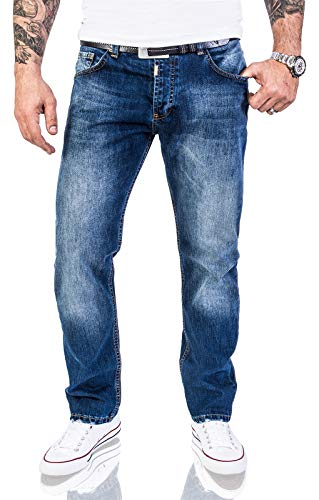 Lorenzo Loren Herren Jeans Hose Denim Jeans Used-Look Regular-Fit [LL324 - Dunkelblau - W44 L34]