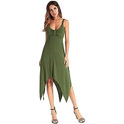 antaina Ejército Verde Profundo V Halter Sexy Bohemio Partido Coctel Largo Maxi Mujeres Vestido de Playa,M