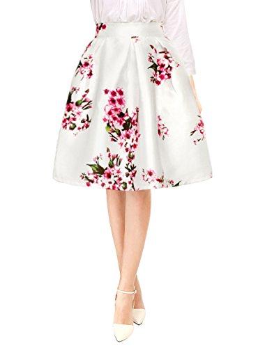 Allegra K Falda Midi Plisada A-Línea Estampados Florales Cintura Alta para Mujer - Blanco/M (US 10), M (EU 40)