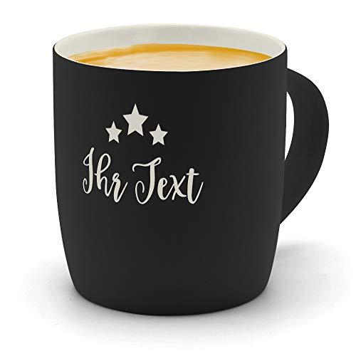 printplanet - Kaffeebecher mit eigenem Text graviert - SoftTouch Tasse mit Wunschtext - Matt-gummierte Oberfläche - Farbe Schwarz - Motiv: Sterne