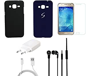 NIROSHA Tempered Glass Screen Guard Cover Case Mobile Holder Charger for Samsung Galaxy J7 - Combo