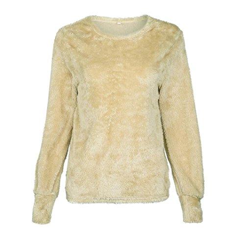 Damen Sweatshirt LUVERSCO Beiläufig Solide Lange Ärmel Jumper Pullover Bluse Oberteile (Khaki, L) (Logo Schal Stricken Lange)
