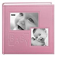 """ألبومات صور بايونير 200 جيب منقوشة """"بيبي"""" من الجلد للمطبوعات مقاس 10.16 سم × 15.24 سم، باللون الوردي"""
