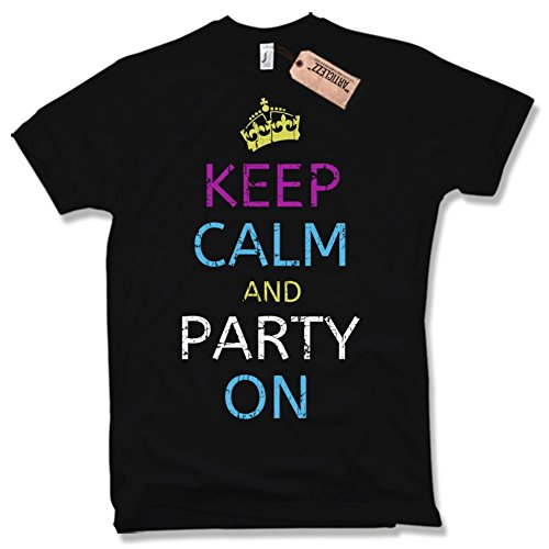 KEEP CALM AND PARTY ON T-Shirt, Funshirt, Retro, verschiedene Farben, Gr. S - XXL Schwarz / Black