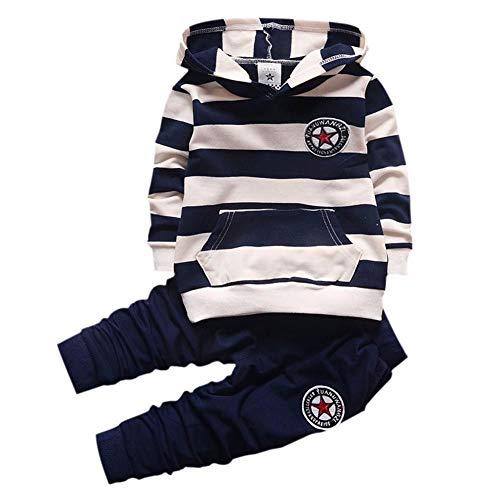 Shiningup Baby-Trainingsanzug-Jungen-Kleidungs-gesetztes Outfit-langes mit Kapuze gestreiftes T-Shirt und Hosen für 0-4 Jahre kleine - 1 Jahr Alter Baby Junge Kostüm