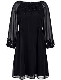 HALLHUBER Schwingendes Georgette-Kleid mit 3D-Blüten A-Linie