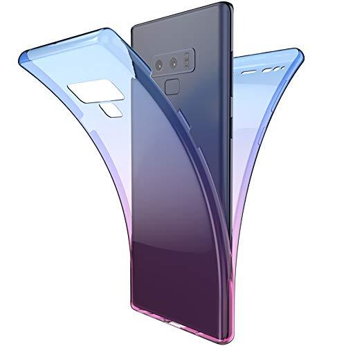 Coque Galaxy Note 9 Intégral 360 Degres avant + arrière Full Body Protection Couleur de dégradé Transparente Silicone Gel TPU Souple Housse Etui Case Coque pour Galaxy Note 9,Bleu Violet