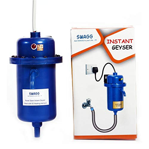 SWAGG Instant Water Gyser/Heater fitted with ISI heating element with complete Accessories set - Best for Kitchen, Bathroom, Hotel, Hospital & Outdoor (Blue/Grey)