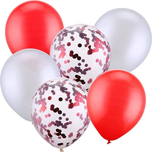 30 Stück 12 Zoll Latex Ballons Konfetti Ballon für Hochzeit Geburtstag Party Dekoration (Weiß und Rot)