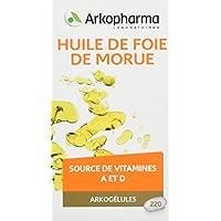 Arkopharma Phytothérapie Cure Arkogélules Huile de Foie de Morue Vitamine A/D 400 mg 220 Capsules