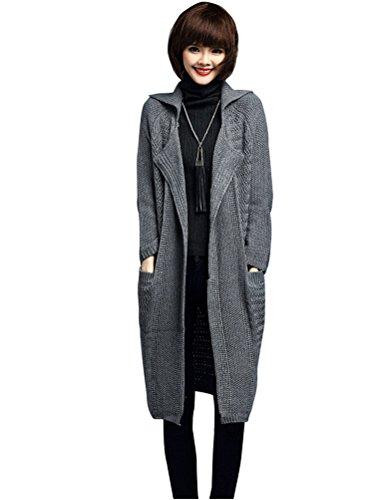 MatchLife Femme Longues Manteau pull Cardigan Style2-Gris