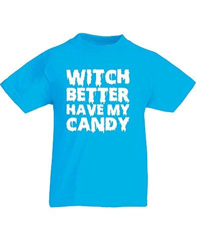Witch Better Have My Candy, Kind-druckten T-Shirt - Azurblau/Weiß 7-8 Jahre