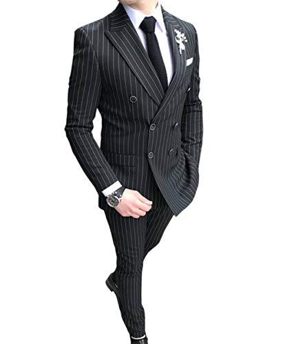 Nadelstreifen-5 Stück Anzug (Männer 2 Stück Formale Slim Fit Nadelstreifen Männer Anzug Zweireiher Groomsmen Smoking für Hochzeit (Blazer+Hosen)(schwarz,40))