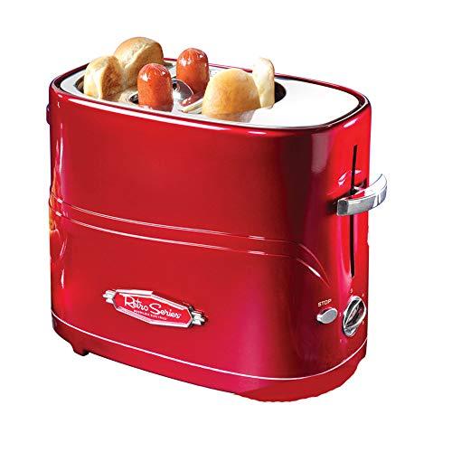 ACOMG Pop-Up Hot Dog Toaster Mini-Frühstücksmaschine, Haushalts-Mini-Hot Dog-Maschine, Brot- / Wurstbackautomat, Toastofen, roter Retro-Look