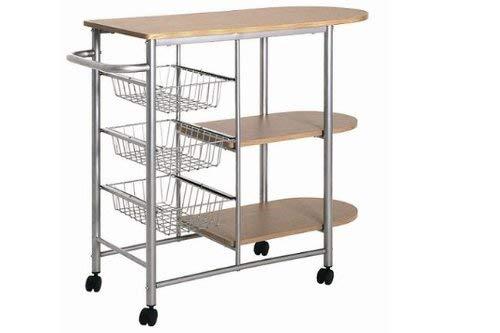 Haku-Möbel 40026 Küchenwagen, 89 x 40 x 80 cm, alu/buche