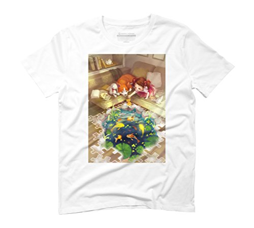 Puzzles of Imagination: Koi Pond Men's Graphic T-Shirt - Design By Humans White