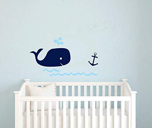 JXYY Kindergarten Baby Dusche Geschenk Wal Anker Vinyl Wandkunst, nautischen Marineblau Wandaufkleber für Kinderzimmer Dekor, Drop Ship 20x44cm