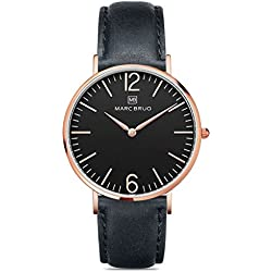 Marc Brüg Men's Minimalist Watch Davos 41 Black Rosegold