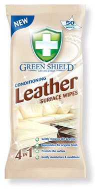 Green Shield Conditioning Cuir Surface Lingettes Lot de 50–Lingettes Extra Large
