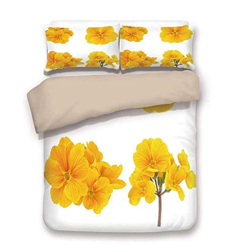 Bettbezug-Set, gelbe Blume, Gartenarbeit-Kollektion mit kleinen zarten Primel Primula-Blüten dekorativ, Senfweiß, dekorativ 3 Stück Bettwäsche-Set von 2 Kissen Shams King Size