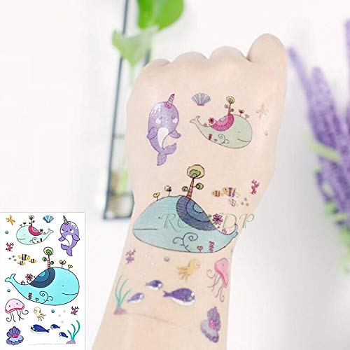 Impermeabile autoadesivo del tatuaggio temporaneo sirena balena mare tartaruga guscio di pesce tatto tatoo s per bambini ragazza uomini donne