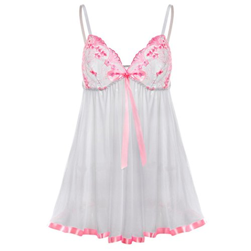 (Dessous lingerie Damen,Yanhoo Heiße Mode Unterwäsche Frauen reizvolle Spitze Wäsche Unterwäsche Korsett Druck Nachtwäsche Pyjama Kleid (M, Weiß))