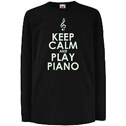 Camisetas de Manga Larga para Niño Play Piano - Citas del músico (14-15 Years Negro Fluorescente)