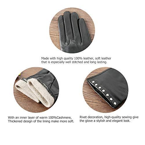 Acdyion Damen Winter Touchscreen Handschuhe Eleganz Echtleder Warm Kaschmirfutter Lederhandschuhe Tägliche Freizeit Outdoor