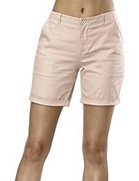 d912eca81 Queenromen Women's Solid Color Cuffed Casual Shorts Combat Cargo Classic  Bermuda Shorts