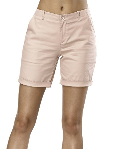 Queenromen Frauen Mittlere Taille Volltonfarbe Cuffed Stretch Chino Shorts Kampf Cargo Klassische Jeans Stil Bermuda Hot Pants Khaki 2XL - Womens Cuffed Denim Bermuda Shorts