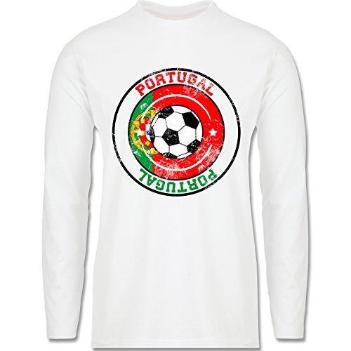 EM 2016 - Frankreich - Portugal Kreis & Fußball Vintage - Longsleeve / langärmeliges T-Shirt für Herren Weiß