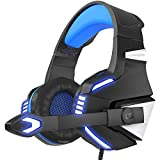 VersionTECH. Casque Gaming PS4 Audio, Casque Gamer Xbox One Anti-Bruit Filaire Avec Micro, LED, Contôleur de Volume et Basse Surround Pour PC, Nintendo Switch / 3DS, Macbook Air / Pro, Ordinateur Portable, iPad, Téléphone Intelligent- Bleu Et Noir