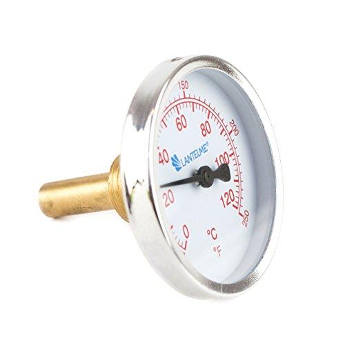 Bimetall Analog G 1/2 ' Gewinde 120 °C Grad Rot Thermometer für Heizung – Lüftung – Sanitär – Wasser . Made in Germany, Farbe / Gehäuse:rot / Kunststoffgehäuse - 2