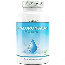 Vit4ever® Hyaluronsäure 400 mg - 120 Kapseln - Molekülgröße 500-700 kDa - Laborgeprüft - Hyaluron aus Fermentation - Vegan - Hylaronsäure - Gelenke, Haut & Anti-Aging