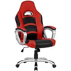LANGRIA High Back Racing Style silla de oficina de cuero de la computadora, giratorio de 360 grados, apoyabrazos bien acolchado, respaldo, apoyabrazos, diseño moderno y ergonómico, altura ajustable, (negro y rojo)