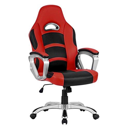 Langria sedia da ufficio in pelle pu racing style, rotondo a 360 gradi, bracciolo ben imbottito, schienale alto, design ergonomico moderno, altezza regolabile, (nero e rosso)