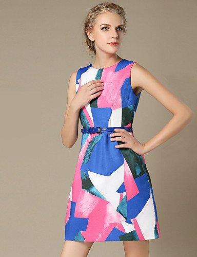 PU&PU Robe Aux femmes Gaine Vintage / Simple,Géométrique Col Arrondi Au dessus du genou Polyester FUCHSIA-XL