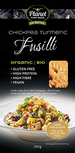 PLANET PLANT-BASED - Kichererbsen Fusilli mit Kurkuma /100{0442ac366202219903b125e90d5b113876fa4b4f6188605c6f3b3b2c53a3fca7} Natürlich/Kichererbsen Pasta/Vegane Nudeln/Chickpea / Bio Nudeln/High Protein/Glutenfreie Pasta
