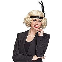 Blonde Charleston peiuca 20er rizador de pelo de la peluca años con plumas de la peluca para mujer chica trampa 30er mafia de pelo corto peluca de pelo de ...