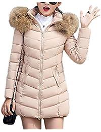 TianBin Cappotto Invernale da Donna Lungo Parka con Cappuccio Collo di  Pelliccia Sintetico Caldo Giubbotto e3f54a72460
