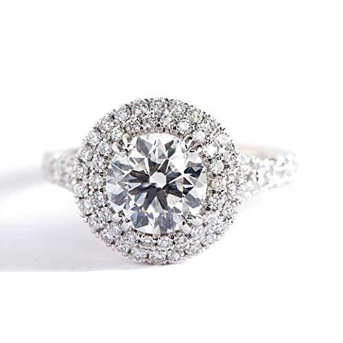 Verlobungsring 18 Karat Weißgold 2,10 Karat SI2 H Diamant Brillantschliff
